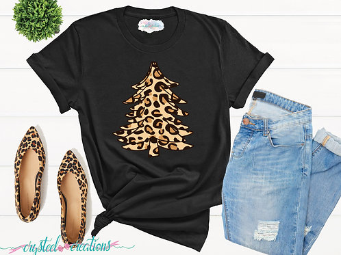 Leopard Print Christmas Tree  Unisex T-Shirt