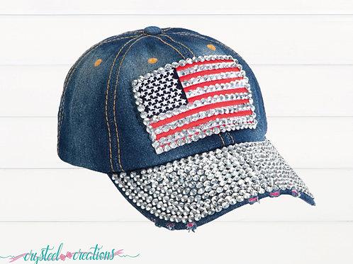 American Flag Rhinestone Bling Hat