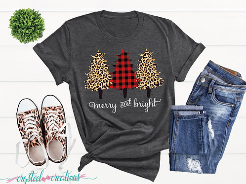 Merry and Bright Leopard Print and Buffalo Plaid Trees Short-Sleeve T-Shirt