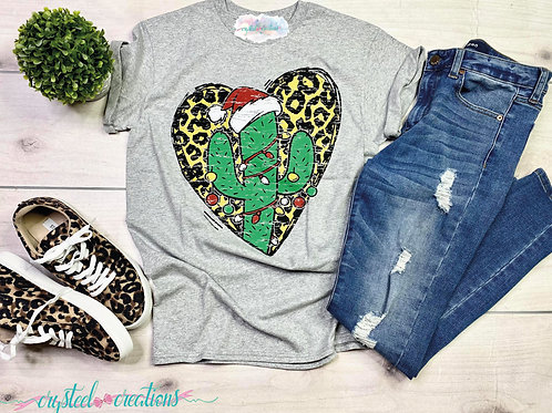 Leopard Print Heart and Cactus ChristmasT-Shirt