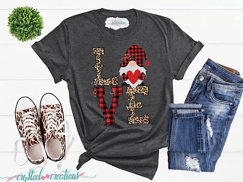 Love Gnome Buffalo Plaid Leopard Print Short-Sleeve Unisex T-Shirt