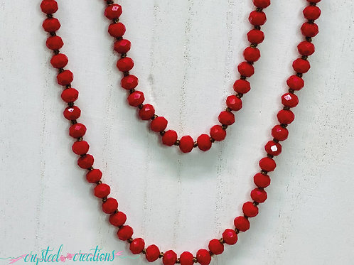 Red 60 Inch Beaded Necklace