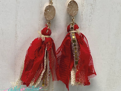 Red and Gold Tassel Earrings with Stone
