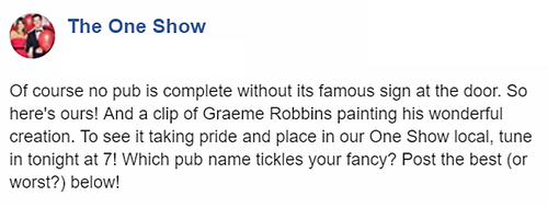 The One Show Pub Sign Graem Robbins Pub Sign Design EastEnders Peggy Mitchel Barbara Windsor Facebook