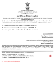 Edudite Consultancy Certificate of Incorporation with Government of India