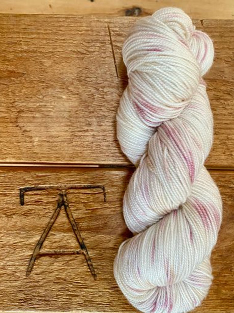 Fingering Yarn 2-Ply Sock Pink + Cream Speckles