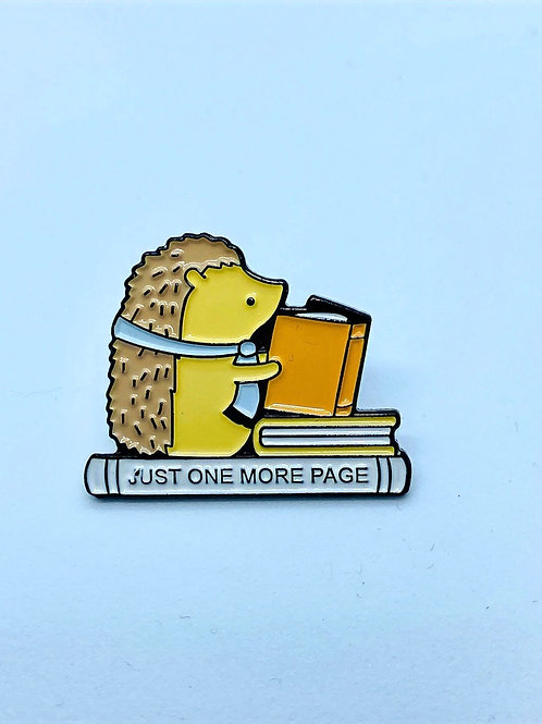 Hedgehog Reading Enamel Pin
