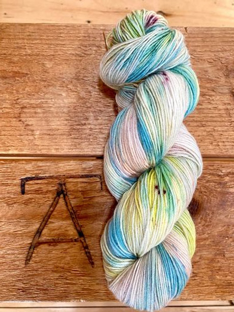 Fingering Yarn 4-Ply Sock Blue Multi Variegated Light