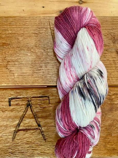 Fingering Yarn 4-Ply Sock Fuschia + Black Variegated