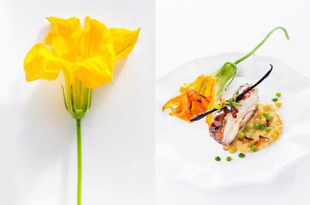 Travers de porc sauce miel-épices, crêpe aux pois d'Angole, fleur de giraumon farcie- K'fée K'nelle