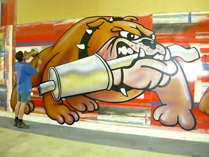 10ft digitally print bulldog. Designed fo Right Price Exhausted