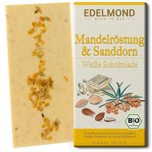 Geröstete Mandeln und Sanddorn, Weiße Schokolade, Bio
