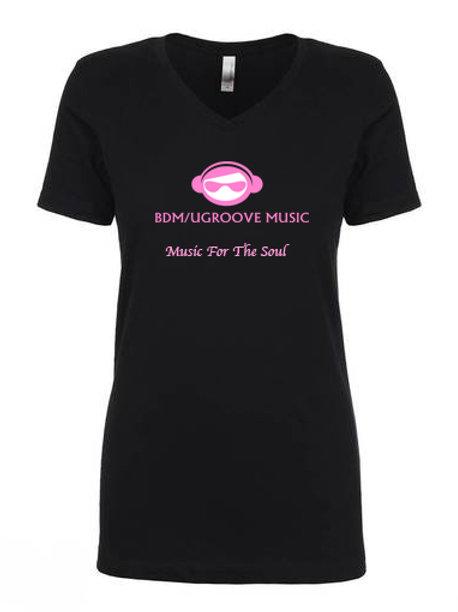 Ladies Bdm/Ugroove Music V Neck T-Shirt