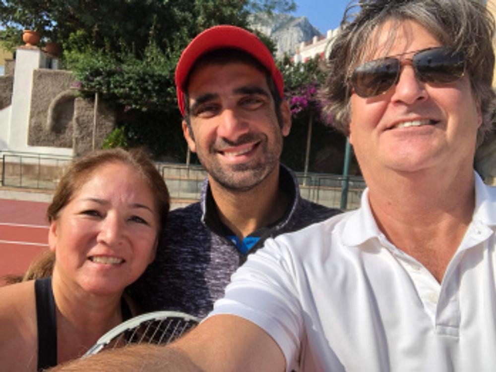 Cynthia getting ready for tennis - Tennis Club of Capri - Tennistravelsite.com