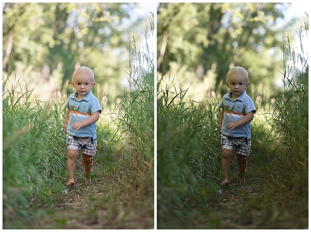 Toddler running through grass photo
