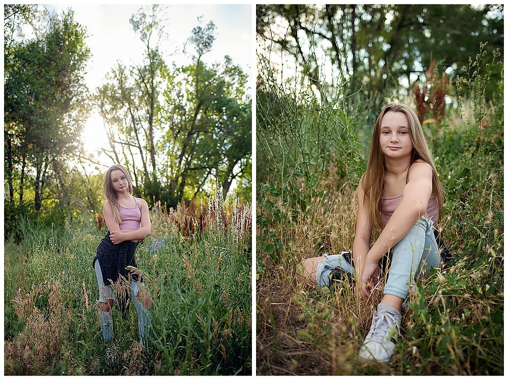 Tween photoshoot in a flower field