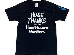 福岡市のコロがらん本舗様よりTシャツを通じて医療従事者支援の寄付をいただきました。