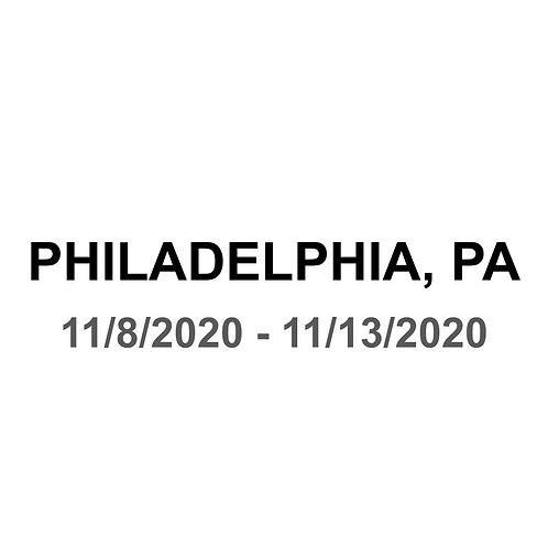 Philadelphia, PA 11/8 - 11/13