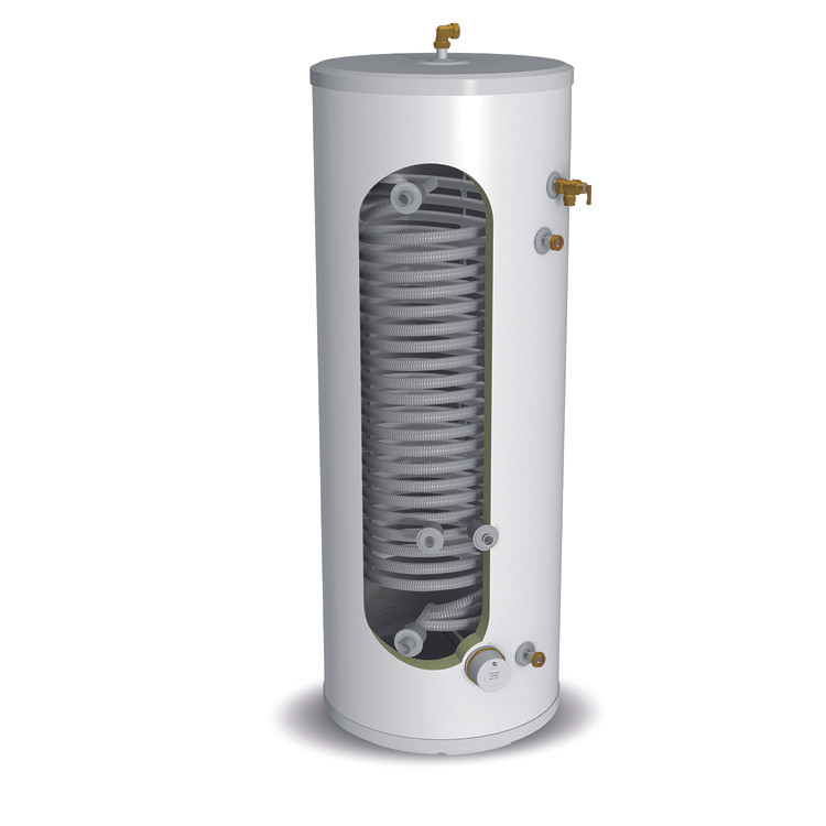 Heat pump cylinder showing larger transfer coil