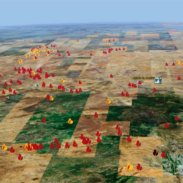 """Image from Google Earth Pro depicting the """"Crisis in Darfur"""" layer"""