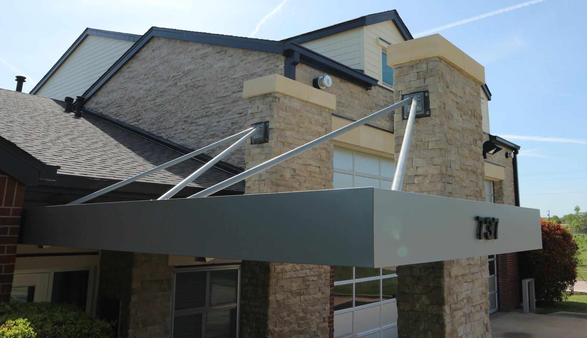 Wrapped aluminium canopy