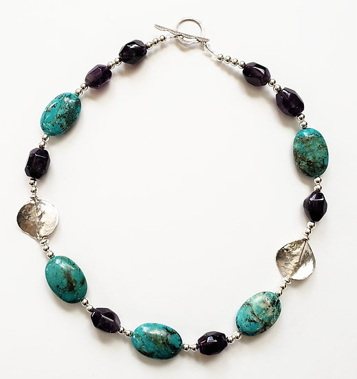 Turquoise, Amethyst and Sterling Silver Necklace
