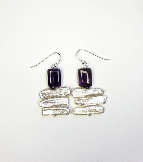 Biwa Pearls and Amethyst Square Beads