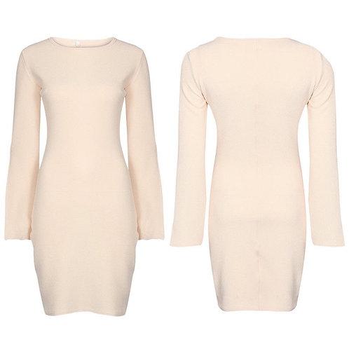 Beige Split Sleeve Dress