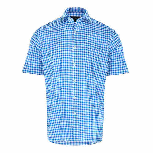PIERRE CARDIN Short Sleeve 100% Cotton Checked Shirt