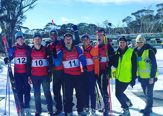 The Masters biathletes celebrating