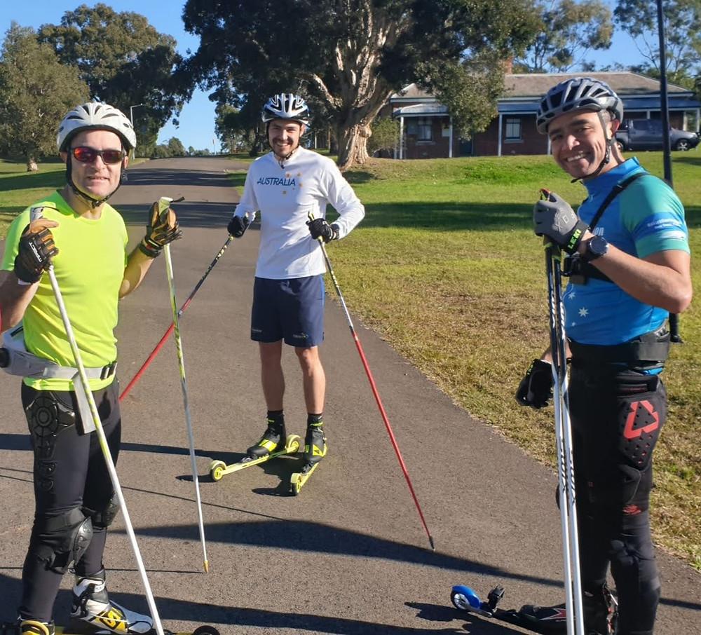 Three rollerskiers in Sydney