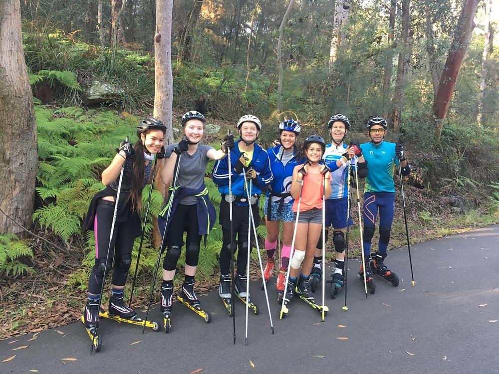 Roller skiers in Sydney training for biathlon