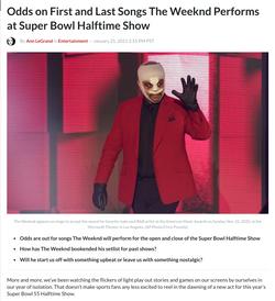 Weeknd Odds at Super Bowl 55