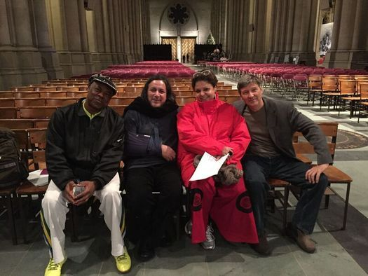 with great Brazilian musicians Cafe, Fabiana Cozza and Renato Braz during rehearsal for Paul Winter'