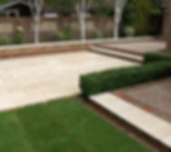 landscape design idea simple contemporary paved patio with brick detail