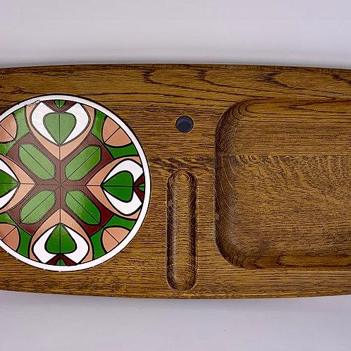 Vintage wood & ceramic cheese board