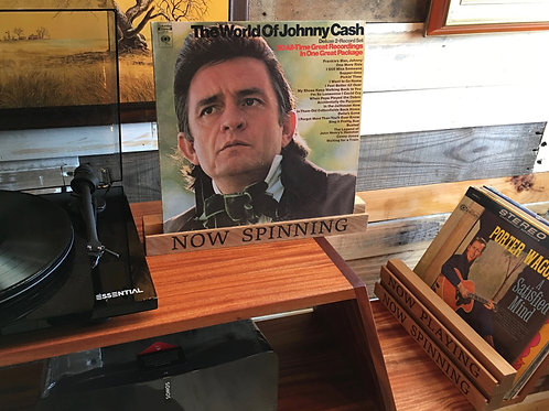 """Solid Oak Record Display - """"Now Spinning"""" Laser Engraved"""