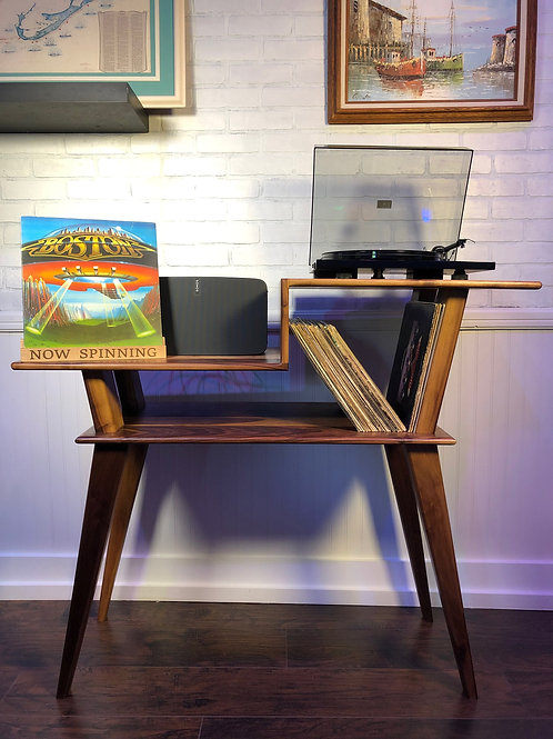 Solid Walnut Turntable Stand w/ Record Holder