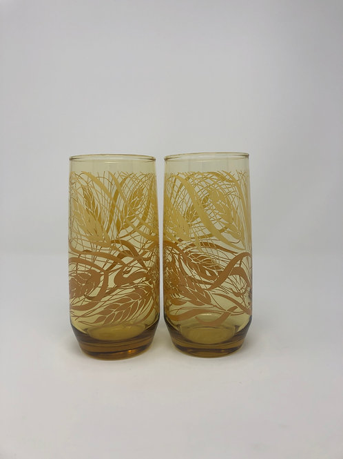 Wheat print amber glasses (set of 2)