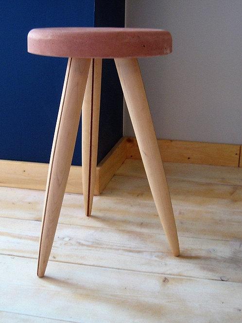 Concrete Stool with Poplar & Mahogany Legs