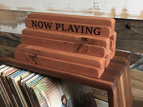 Solid Cherry Wood Record Display w/ 'NOW PLAYING' Laser Engraved