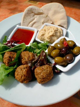 Falafel and olive!