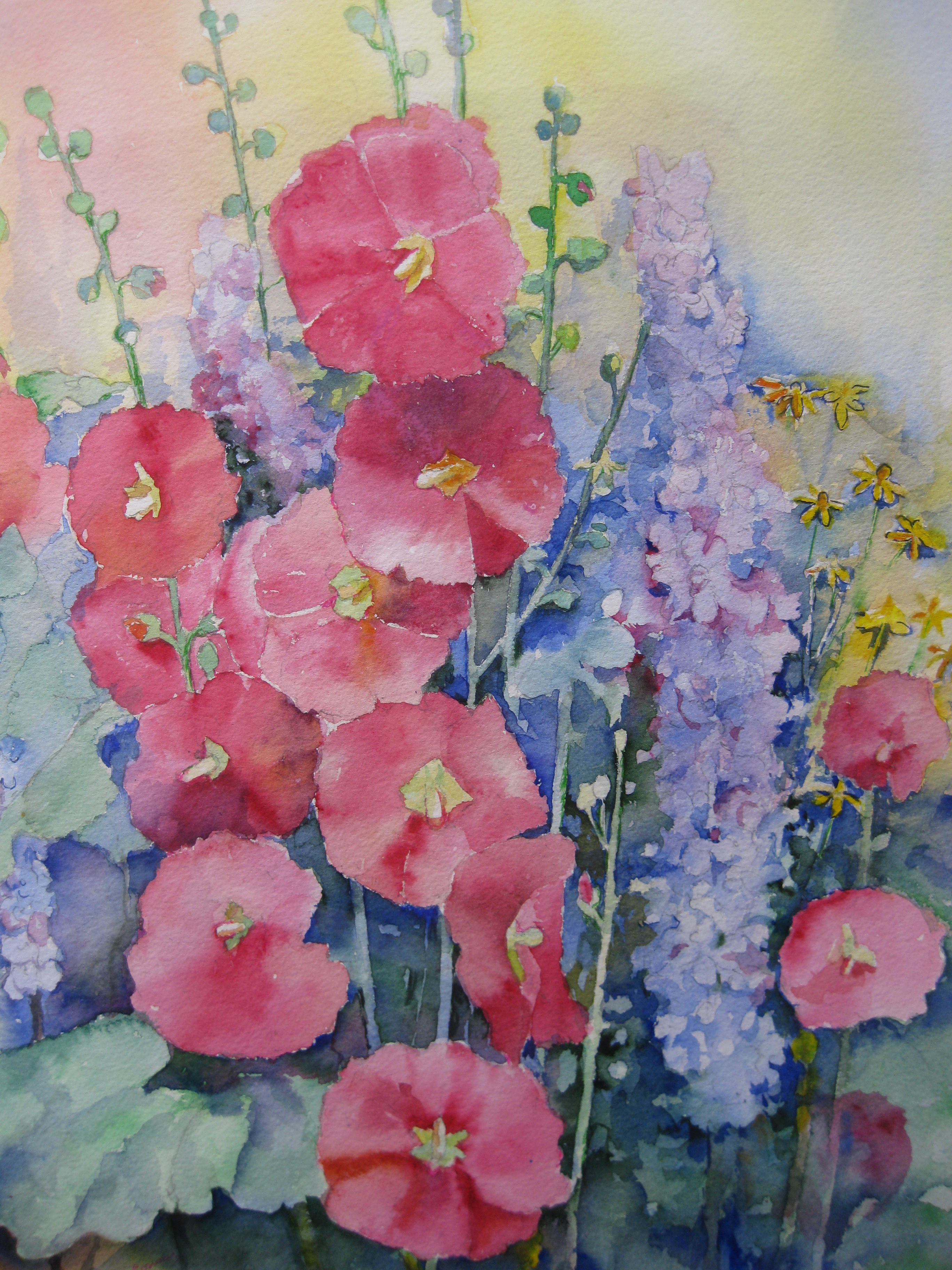 Hollyhocks and Delphiniums