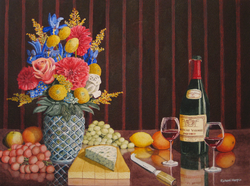 Flowers, fruit and cheese