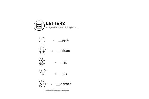 Missing Letter Worksheet