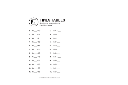 8 Times Table Practice