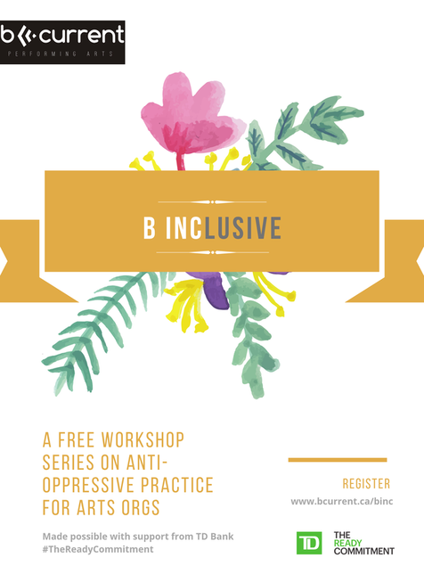 Poster for B Inclusive, a free wokshop from b current