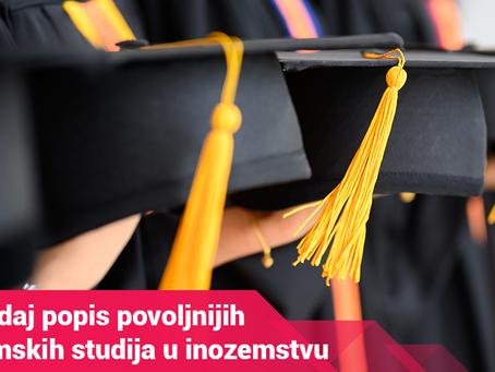 Pogledaj popis povoljnijih diplomskih studija u inozemstvu