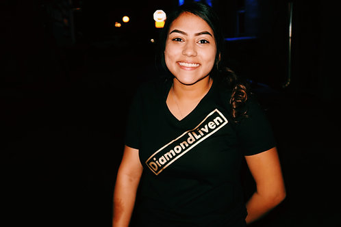 Women's black and gold tee