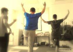 Young mens first yoga class